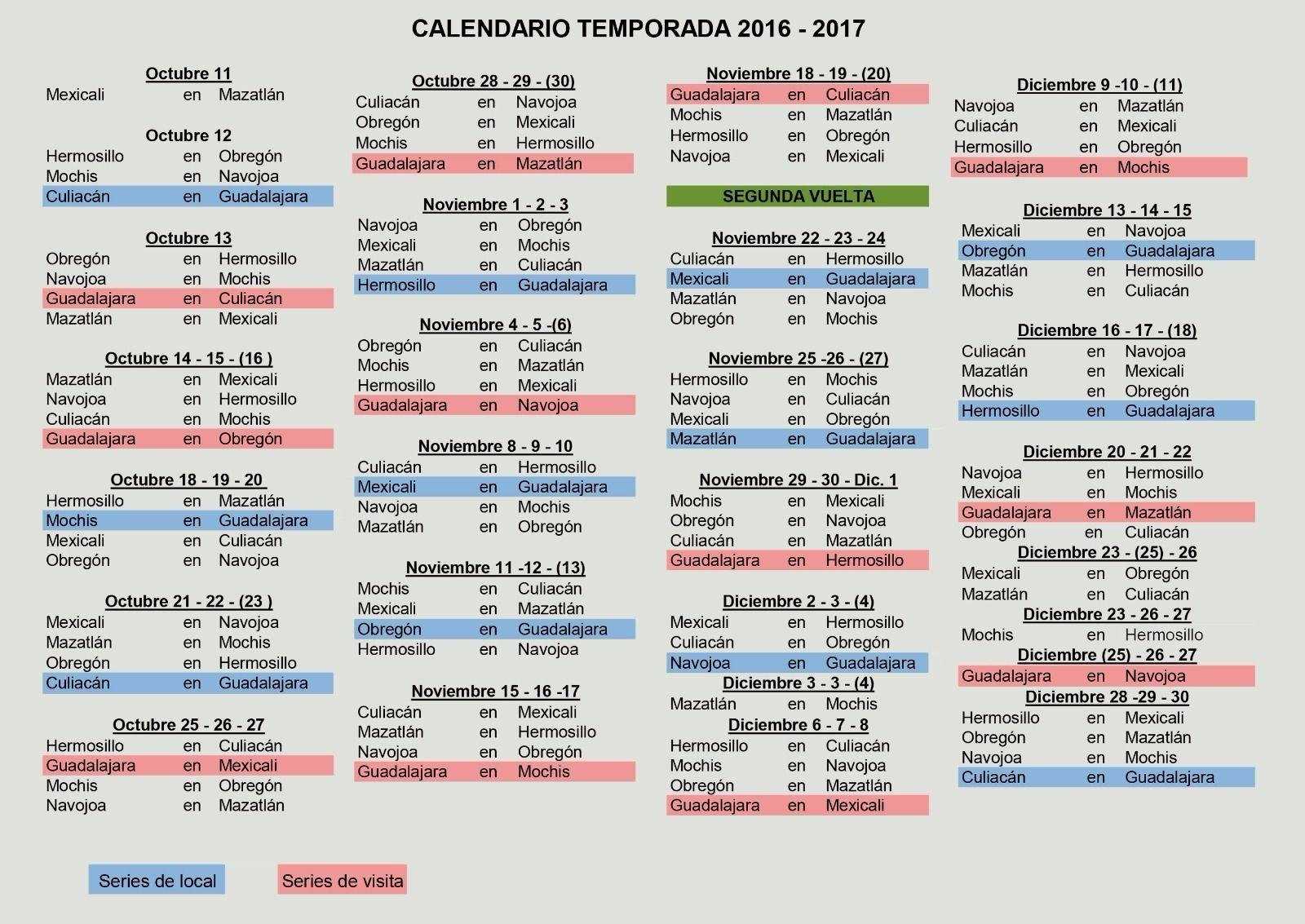 Conoce Charros de Jalisco el calendario para la temporada 2016-2017 ...